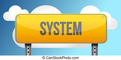 system yellow road sign illustration