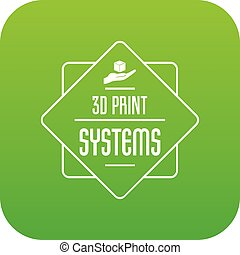 Systems 3d printing icon green vector