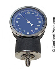 A Sphygmomanometer showing a normal systolic pressure over white