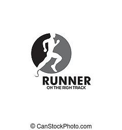 sytle, schablone, einfache , design, logo, läufer