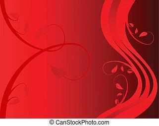 sytylized, floral, fond, résumé, rouges