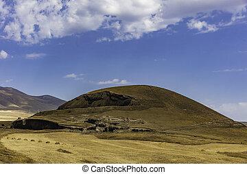 syunik, bereich, vorotan, grenzstein, landschaftsbild, armenien, landschaftlich