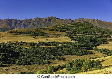 syunik, tatev, grenzstein, landschaftsbild, panorama, armenien, berge