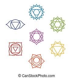 syv, symbols., yoga, sæt, chakra, meditation