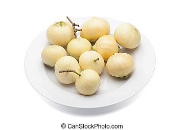 Syzygium jambos or rose apple isolated on white background...