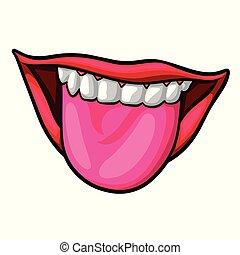 száj, nő, nyílik