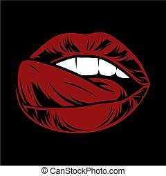 száj, női, lips., tongue.attractive, nyílik, szexi, saliva.