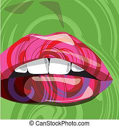 száj, vektor, színes, ábra