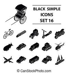 szállítás, állhatatos, ikonok, alatt, fekete, style., nagy, gyűjtés, közül, szállítás, vektor, jelkép, állandó ábra