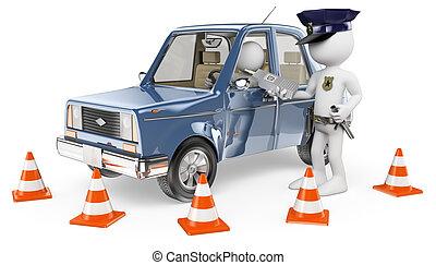 szállítás, emberek., breathalyser, rendőrség, 3, ki, fehér