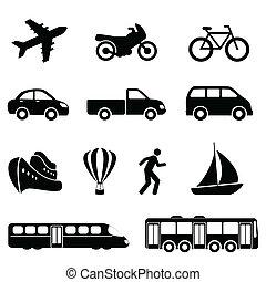 szállítás, fekete, ikonok