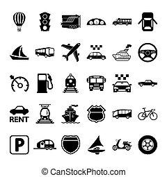szállítás, ikon, set.