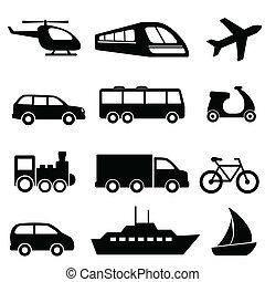 szállítás, ikonok, alatt, fekete