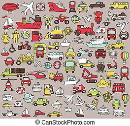 szállítás, ikonok, nagy, doodled, befest, gyűjtés