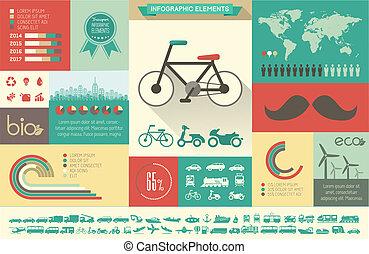 szállítás, infographic, template.