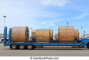 szállítás, közül, fém, termékek, képben látható, út