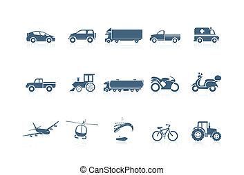 szállítás, kisfuvola, ikonok, -, seri