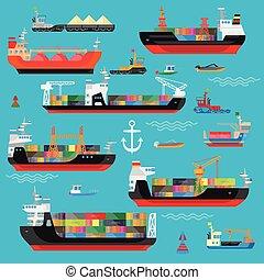 szállítás, rakomány, hajózás, logisztika, hajó, csónakázik, ikon