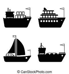 szállítás, rakomány, ikonok, hajózás, csónakázik, hajó, logisztika