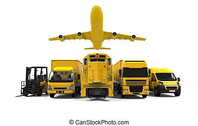 szállítás, sárga, rakomány