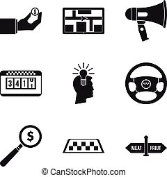 szállítás, szolgáltatás, ikonok, állhatatos, egyszerű, mód
