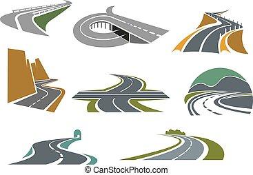 szállítás, tervezés, út, ikonok, autóút