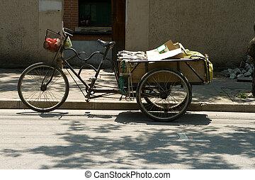 szállítás, trike, három, kordé, bicikli, kína, kerekes