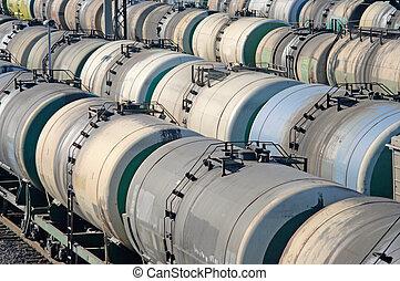 szállítás, vasút, olaj tartály