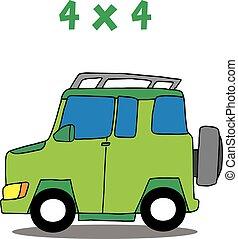 szállítás, vektor, művészet, 4x4, karikatúra