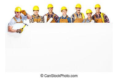 szállító, munkás, emberek