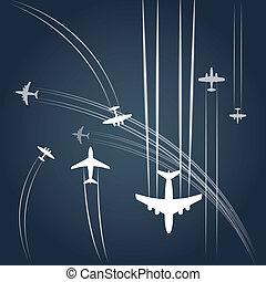 szállít, és, civil, airplanes`, út
