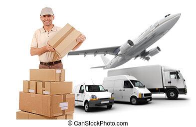 szállít, logisztika, lánc