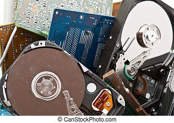 számítógép, öreg, hardvware