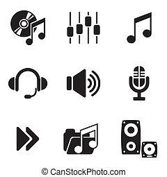 számítógép, audio, ikonok