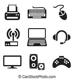 számítógép, berendezés, ikonok