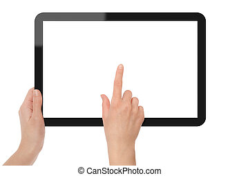 számítógép, birtok, tabletta, mutat