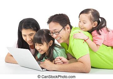 számítógép, család, boldog
