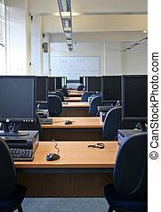 számítógép, csomó, labor, -ban, a, egyetem