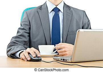 számítógép, dolgozó, ember