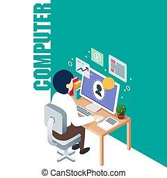 számítógép, dolgozó, kép, vektor, háttér, technológia, ember