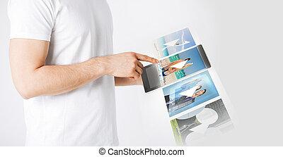 számítógép, ember, video, tabletta, őrzés