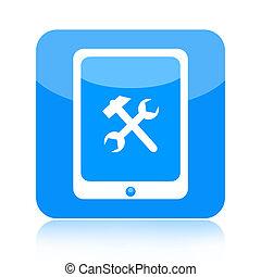 számítógép, eszközök, tabletta, ikon