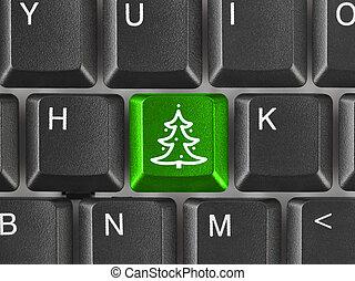 számítógép, fa, karácsony, kulcs, billentyűzet
