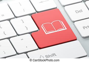 számítógép, háttér, billentyűzet, oktatás, könyv, concept: