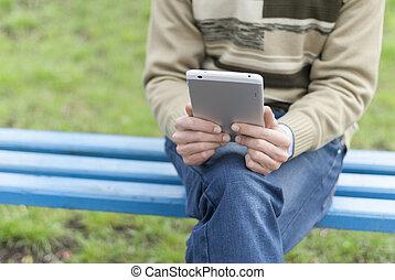 számítógép, hands., tabletta, ember
