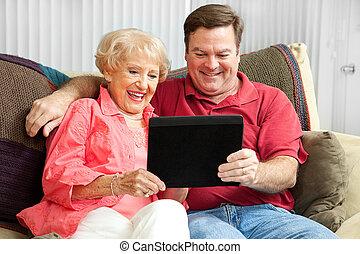 számítógép, használ, anya, tabletta, fiú