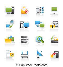 számítógép, internet, hálózat, ikonok