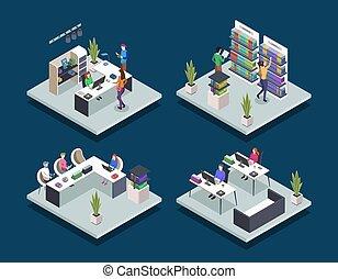 számítógép, könyv, elszigetelt, diák, set., class., reading., fogalom, egyetem, háttér, szembogár, kék, isometric, ábra, közönség, bookstore., vektor, modern, emberek, 3, szín, könyvtár, izbogis