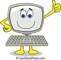 számítógép, karikatúra