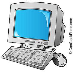 számítógép, karikatúra, desktop